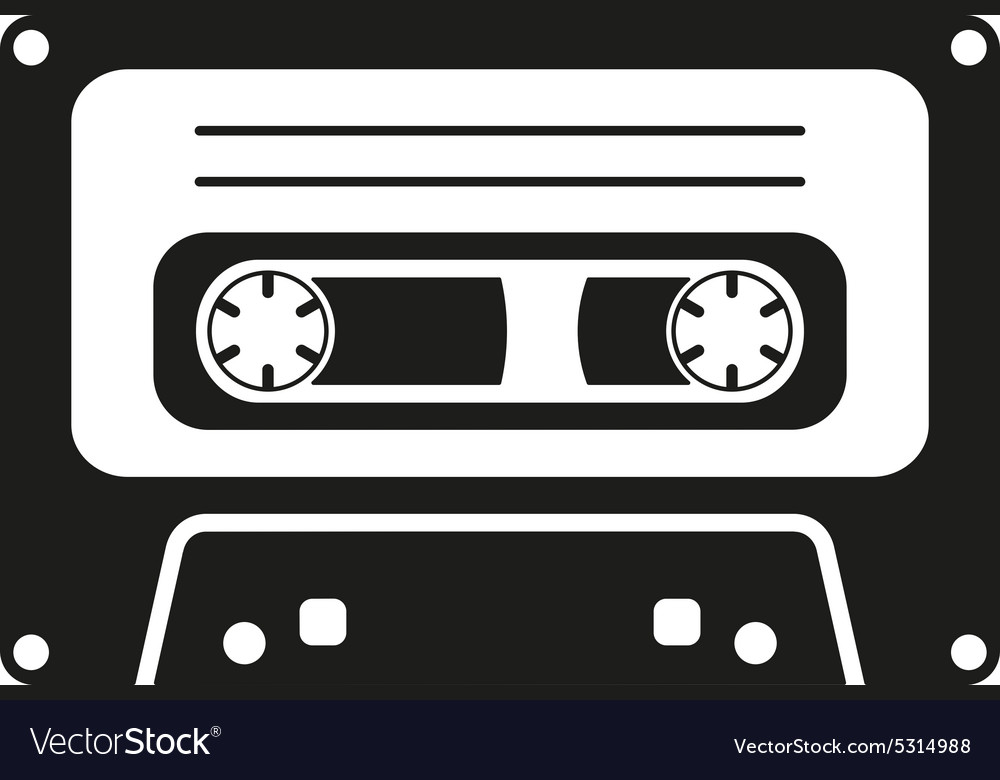 Tape icon cassette symbol flat vector