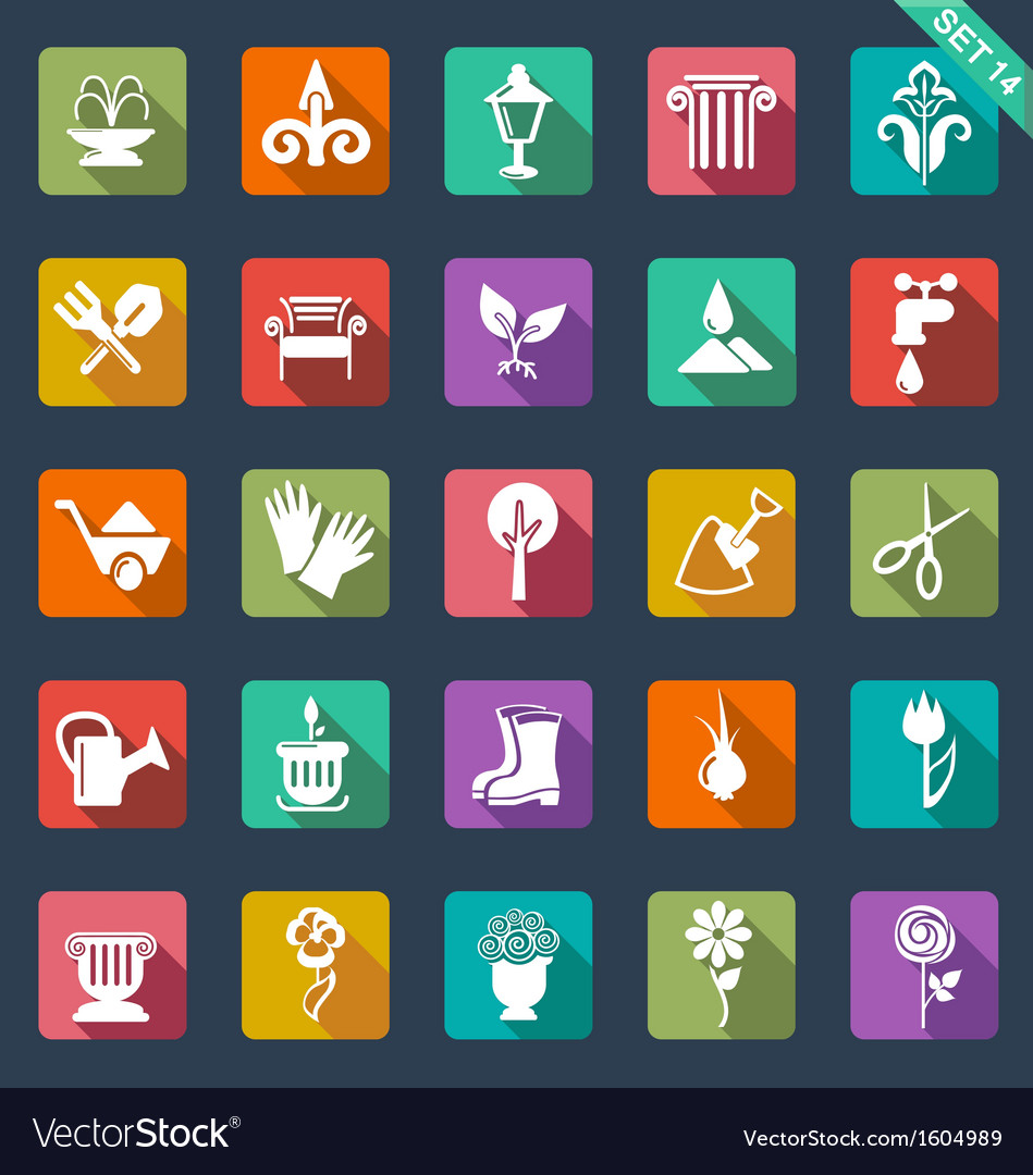Gardening icons flat design vector