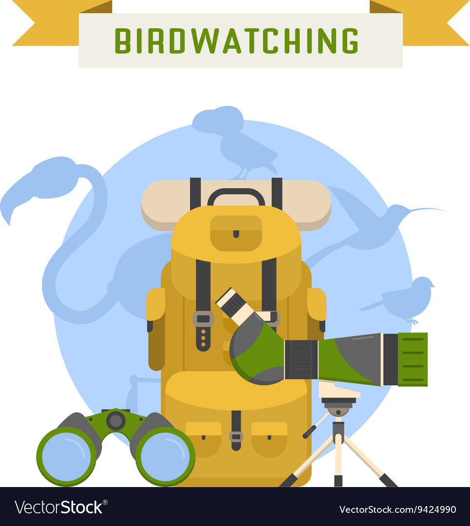 Birdwatching tourism concept vector