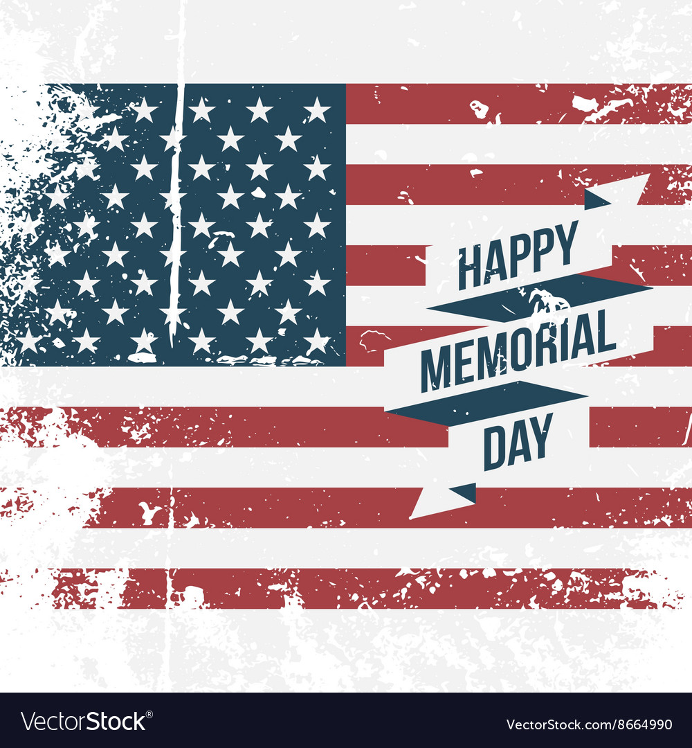 Happy memorial day usa grunge flag background vector