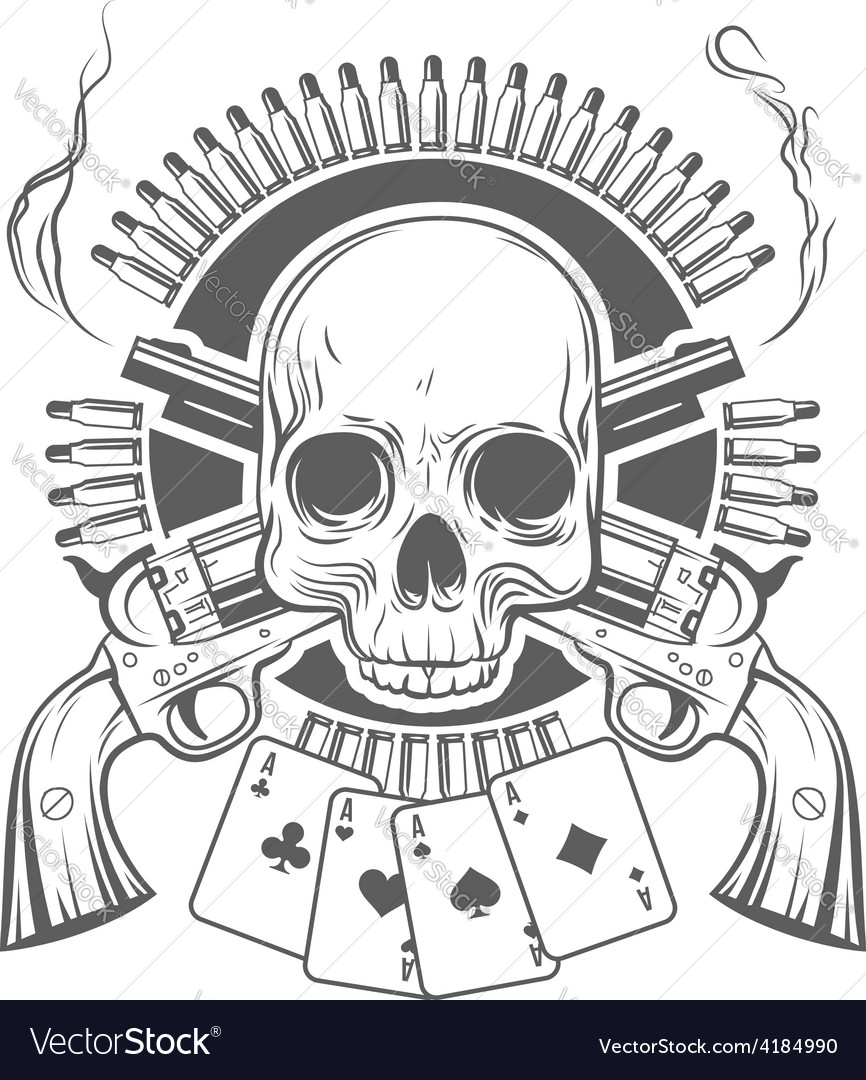Skull crossed revolvers cards and cartridges vector