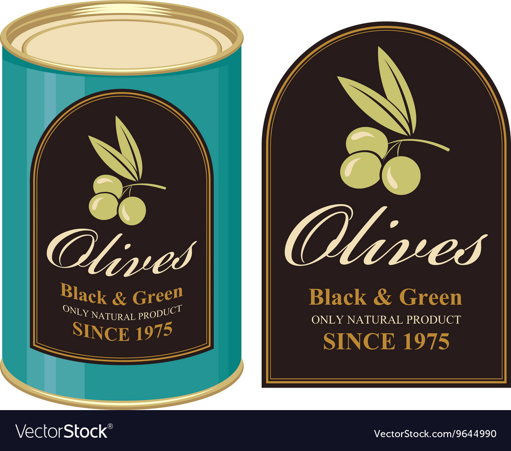 Tin black and green olives vector
