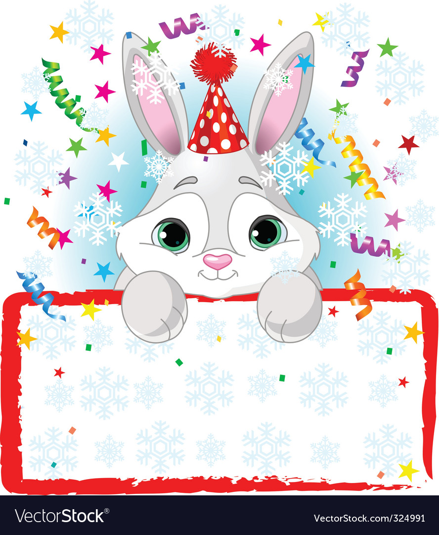 Baby bunny new year frame vector