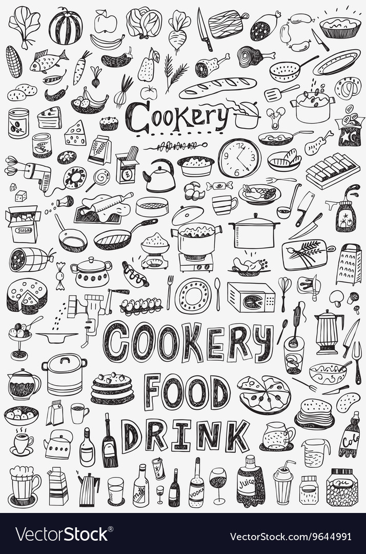 Cooking food doodles vector
