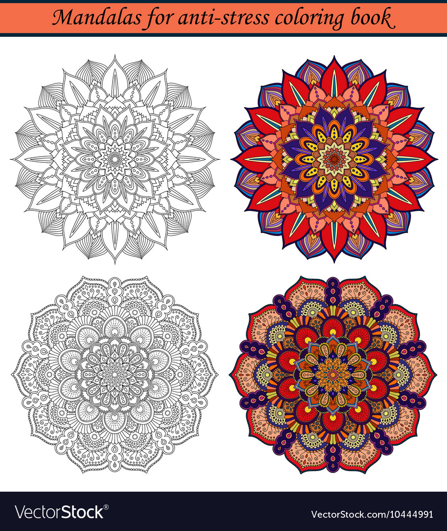Mandalas for antistress coloring book 2 vector