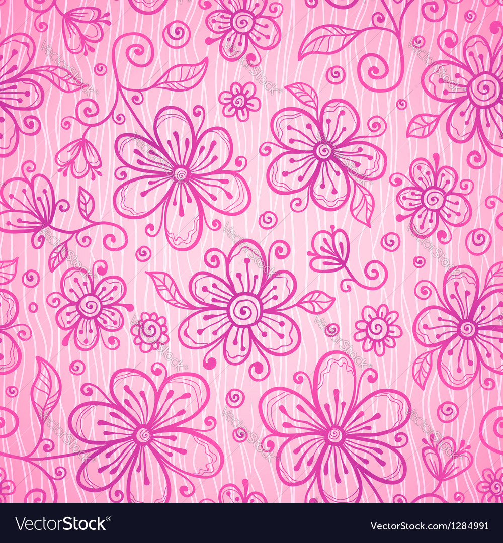 Pink lacy vintage flowers seamless pattern vector