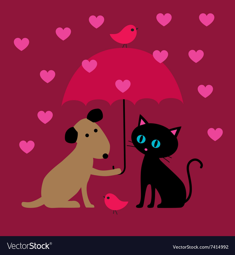 Cat and dog valentines vector