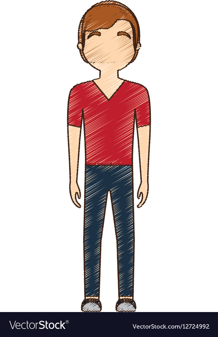Drawing avatar man red tshirt standing vector