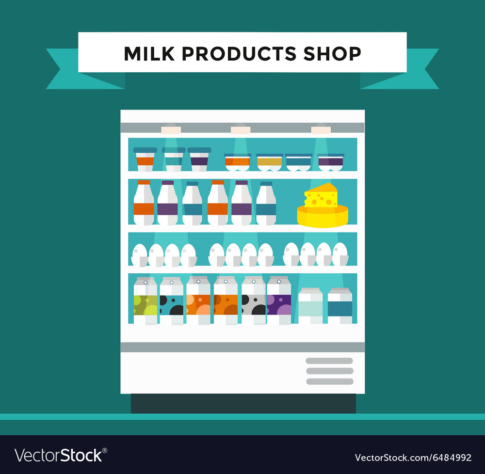 Milk products shop stall with vector