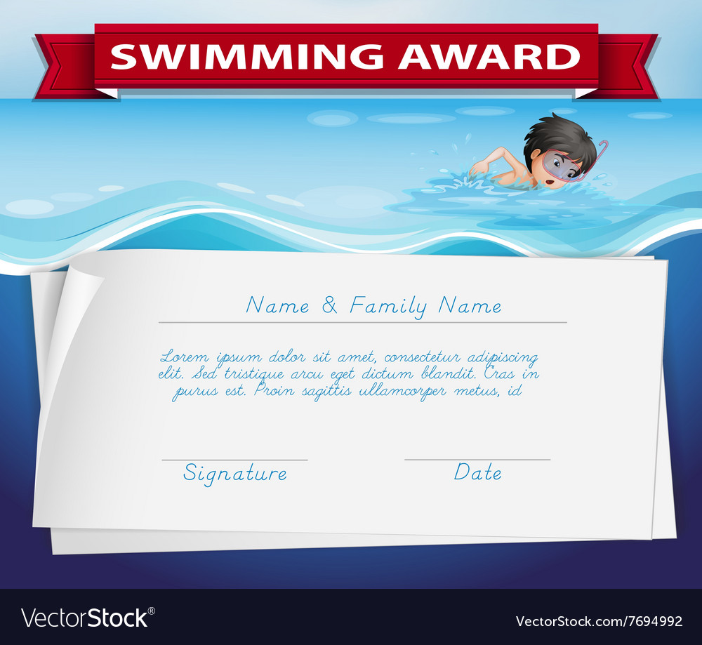 Template of certificate for swimming award vector