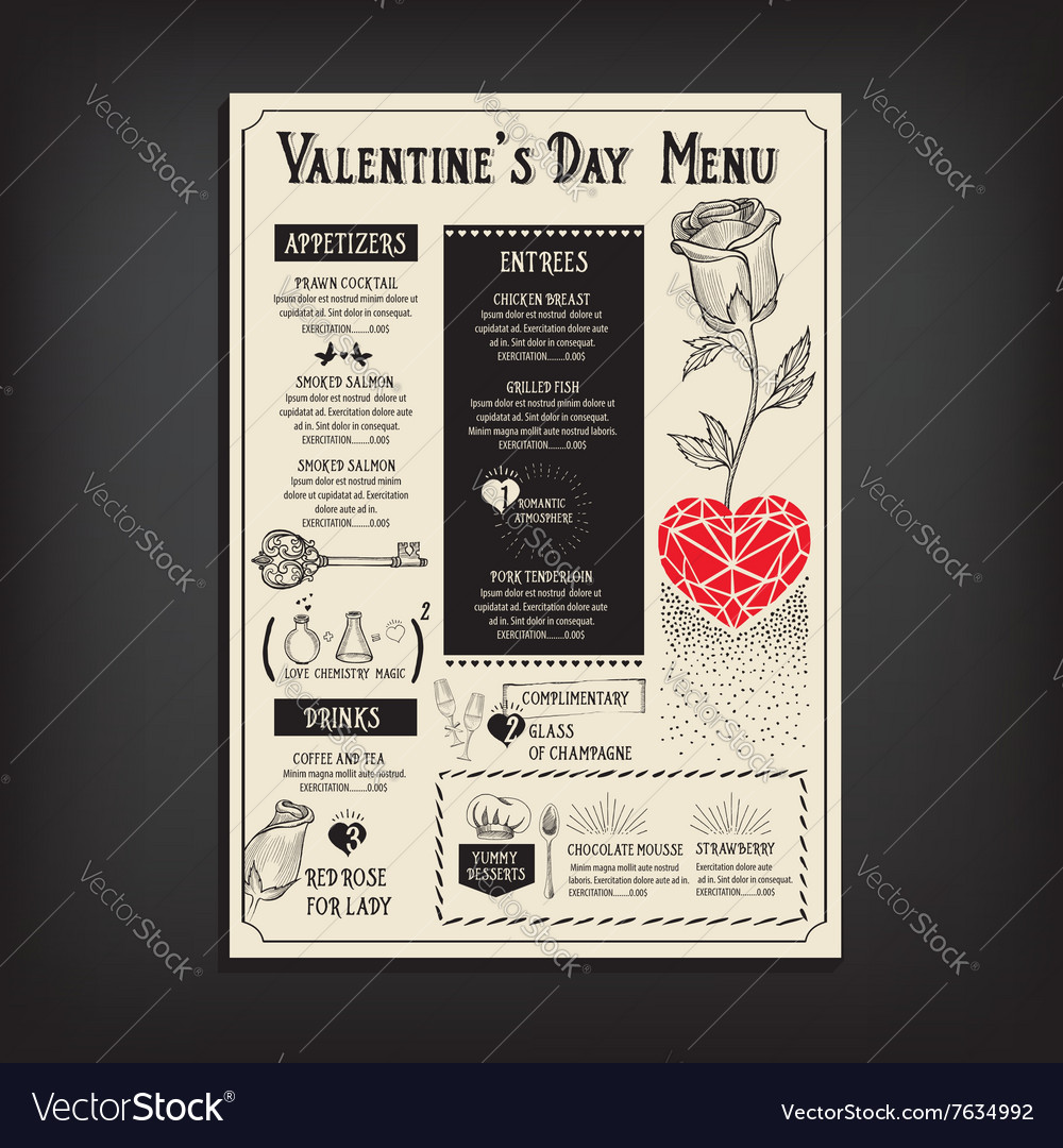 Valentine party invitation restaurant food flyer vector