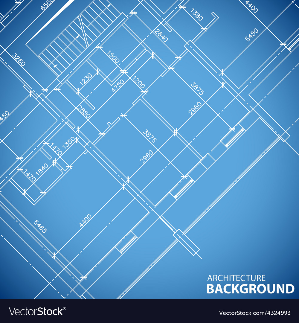 Blueprint building structure vector