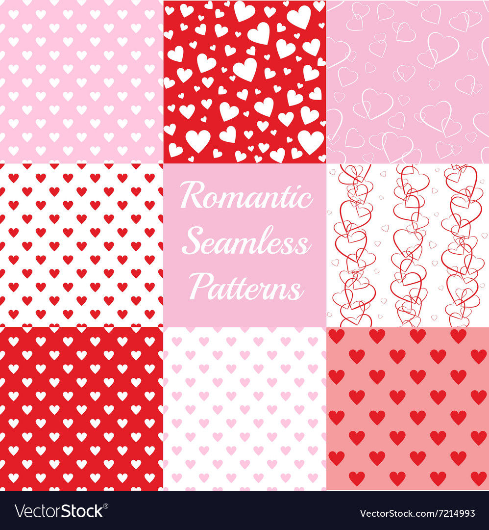 Seamless patterns with hearts vector