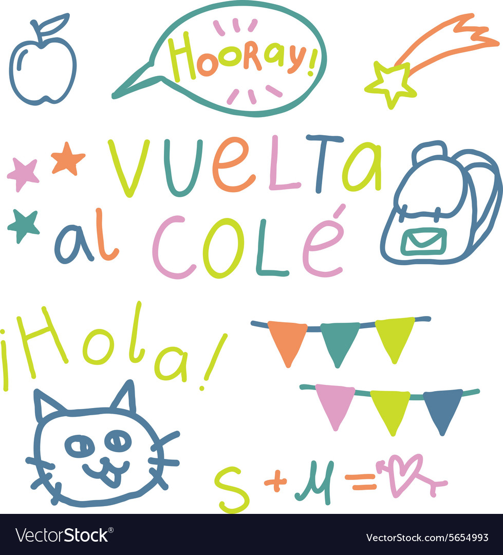 Spanish text back to school vector