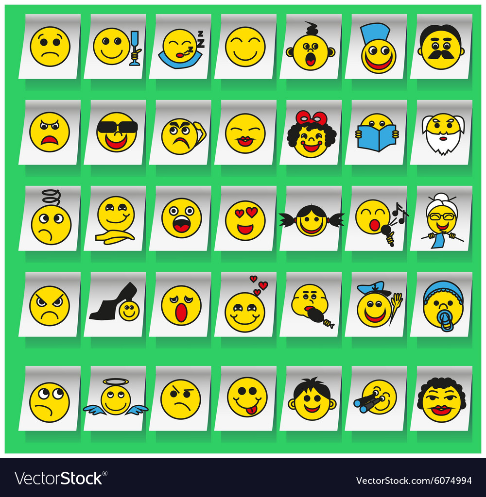 Face on stickers vector