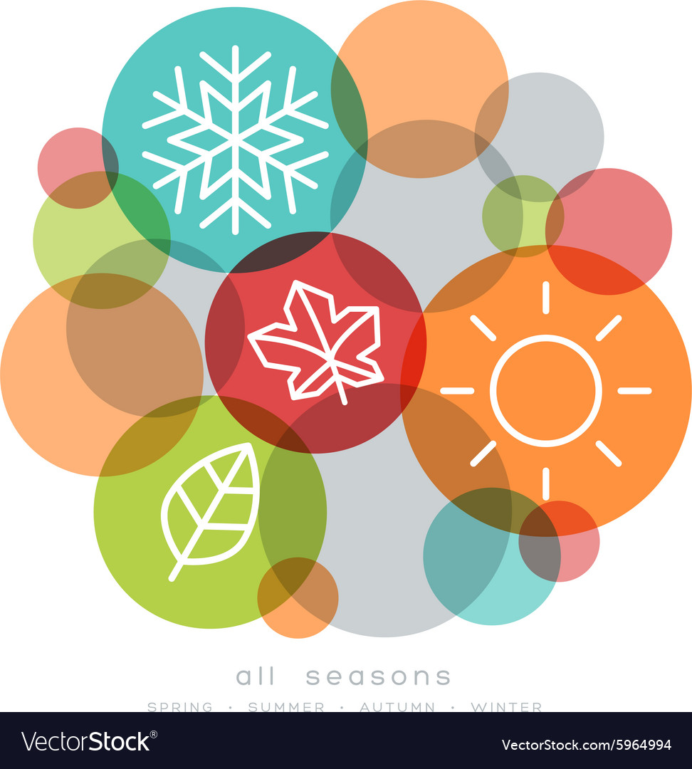Four seasons icon symbol vector