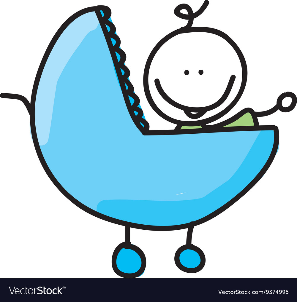 Baby in car drawing isolated icon design vector