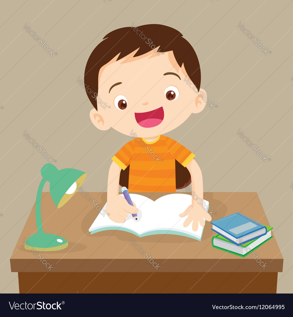 Cute boy working on homework vector