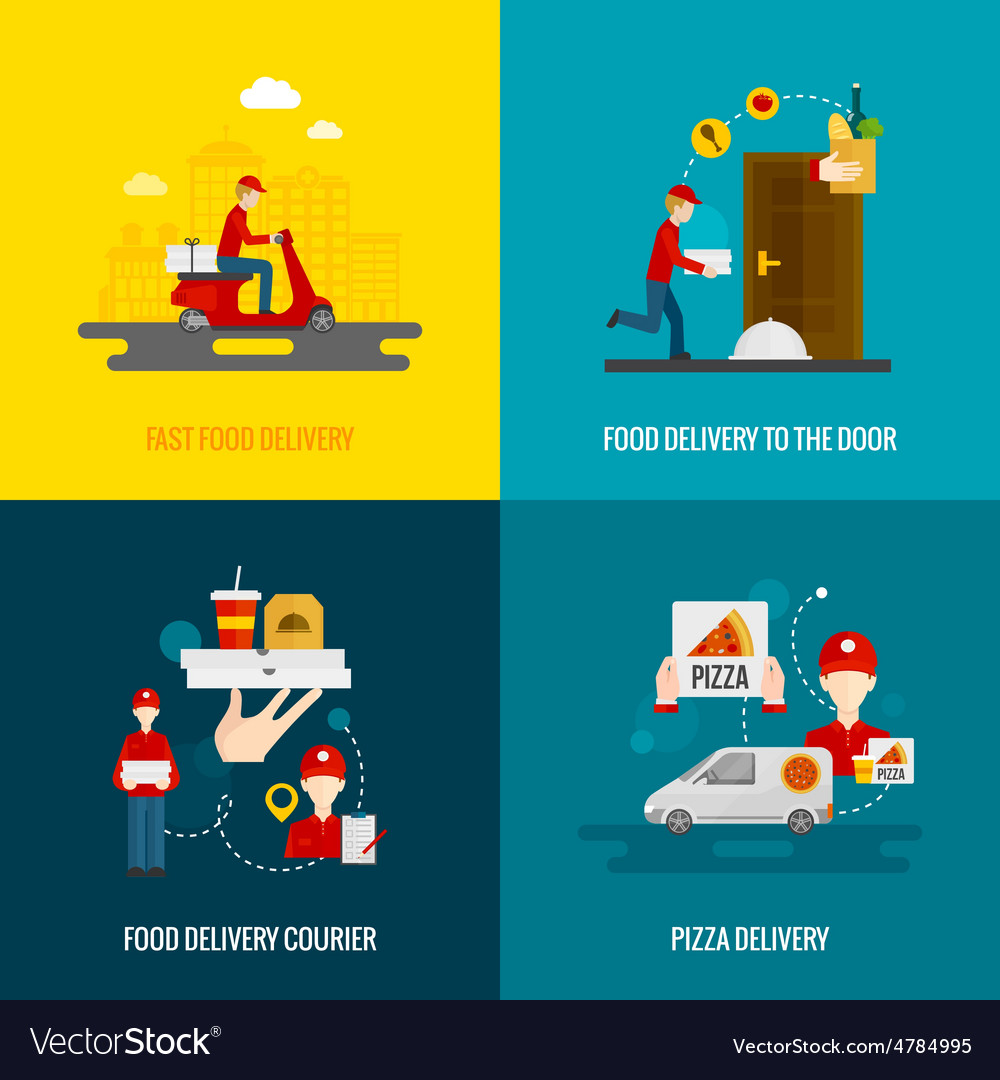 Food delivery concept icons set vector