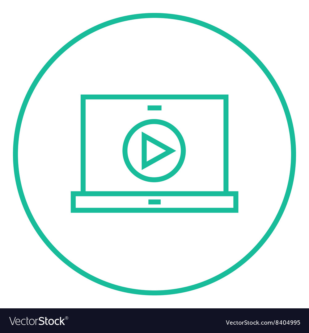 Laptop with play button on screen line icon vector