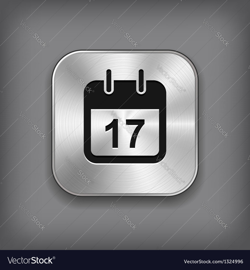 Calendar icon  metal app button vector