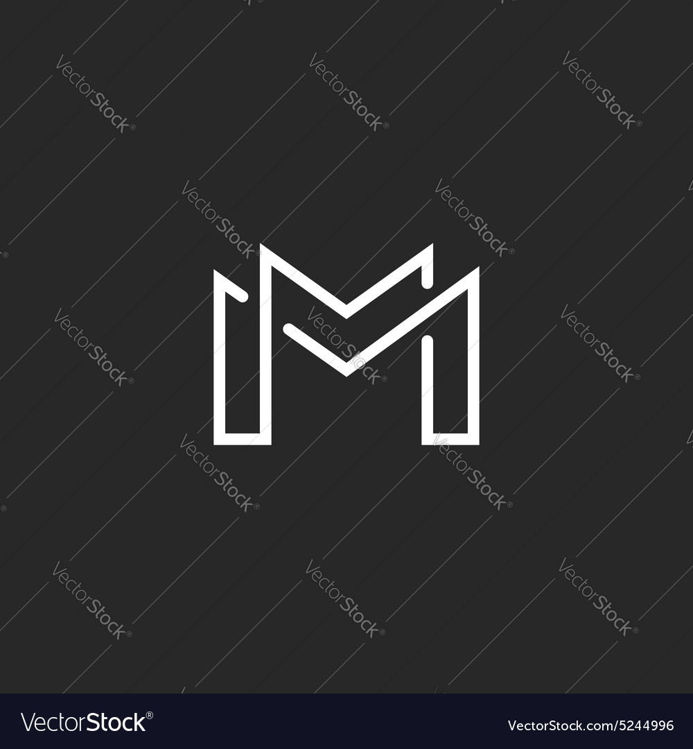 Letter m logo or two modern monogram symbol mockup vector