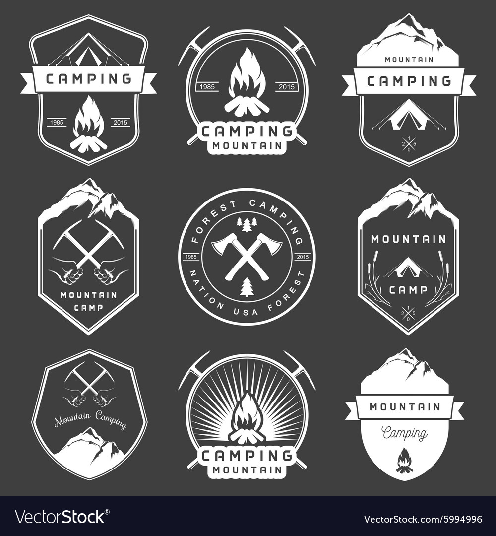 Set of badges camping and hiking vector