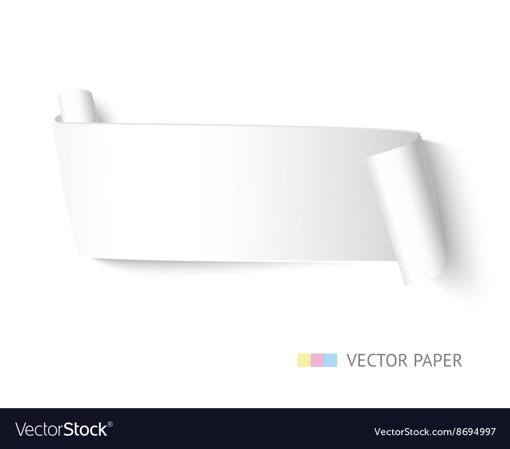 White paper ribbon curved banner with roll vector