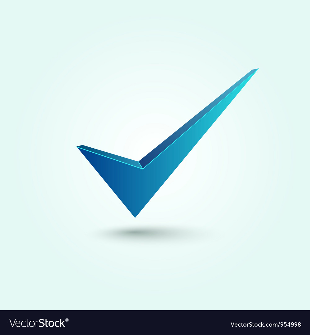 Blue check mark symbol vector