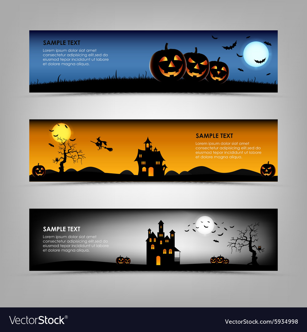 Halloween night banners template vector