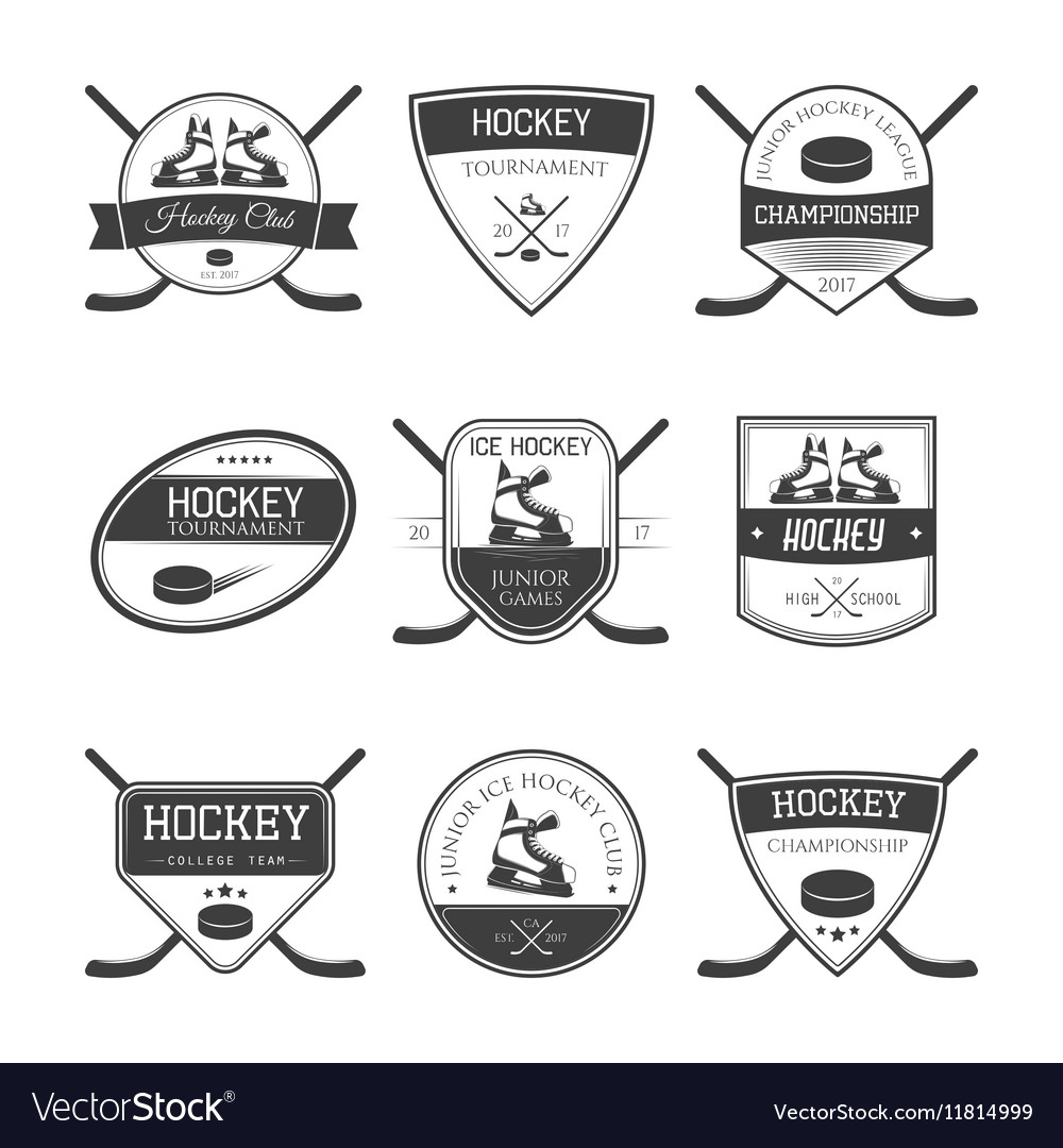 Set of ice hockey logos vector