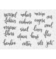 Natural fibers types lettering set vector image