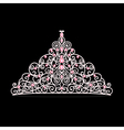 womens tiara crown wedding with pink stones vector image vector image