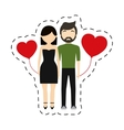 couple fashionable modern red hearts balloon vector image