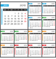2015 Full Calendar multicolor template vector image