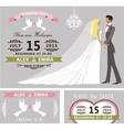 Wedding invitation set Cartoon bride and groom vector image