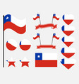 chile flag set symbols flag in heart vector image