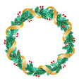 green christmas wreath with golden ribbon vector image