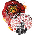 Musician on background from watercolor splatters vector image