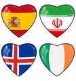 Set of images of hearts with the flags of Iran vector image
