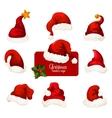 Christmas Santa red hat and cap cartoon icon set vector image vector image
