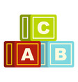 colorful alphabet cubes icon isolated vector image