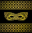 gold carnival mask with luxury background vector image
