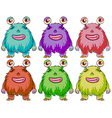 Six colourful monsters vector image