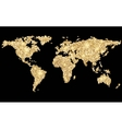 World abstract pixel golden map on black vector image vector image