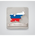 Icon of Slovenia map with flag vector image
