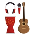 music festival set instruments vector image