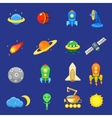 Space icons set of rocket galaxy planet ufo sun vector image