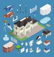 suburb house isometric set vector image