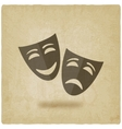 comedy and tragedy masks old background vector image
